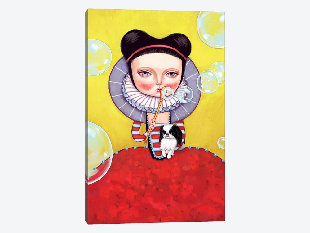 Girl Who Blew Bubbles by Melanie Schultz 1-piece Canvas Art Print