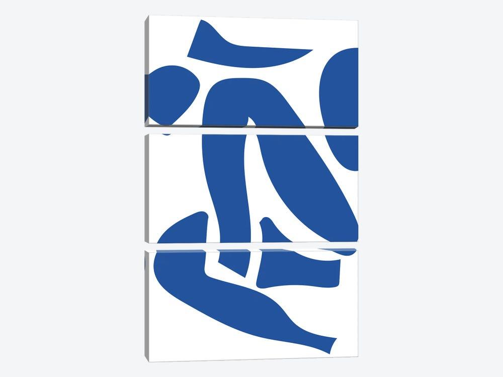 Deconstructed Blue Figure Detail by Mambo Art Studio 3-piece Art Print