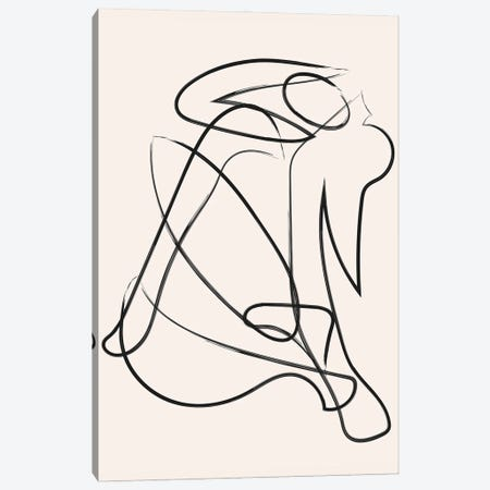Deconstructed Lines Figure Natural Canvas Print #MSD107} by Mambo Art Studio Canvas Wall Art