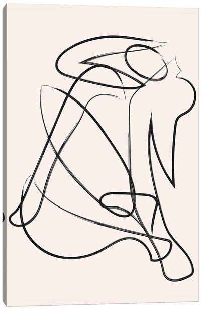 Deconstructed Lines Figure Natural Canvas Art Print