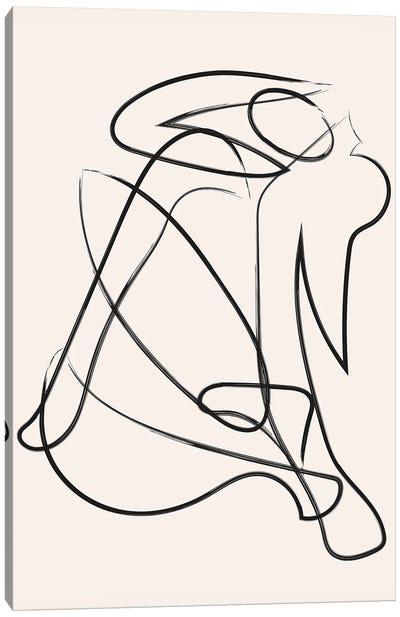 Deconstructed Lines Figure Natural Canvas Art Print