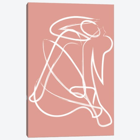 Deconstructed Lines Figure Pink Canvas Print #MSD108} by Mambo Art Studio Canvas Art Print