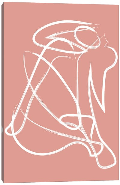 Deconstructed Lines Figure Pink Canvas Art Print