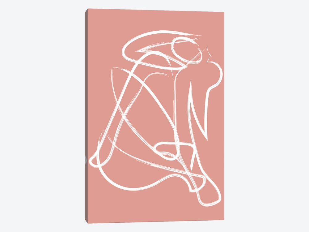 Deconstructed Lines Figure Pink by Mambo Art Studio 1-piece Canvas Art Print