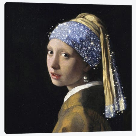 Girl With A Pearl Earring Canvas Print #MSD112} by Mambo Art Studio Canvas Wall Art