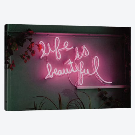 Life is Beautiful Neon Canvas Print #MSD116} by Mambo Art Studio Canvas Art Print