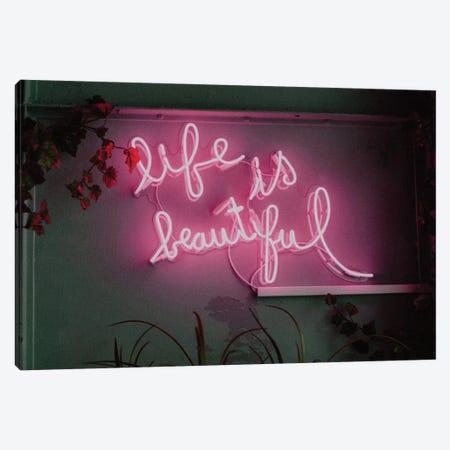 Life is Beautiful Neon Canvas Print #MSD116} by Mambo Art Studio Canvas Art Print