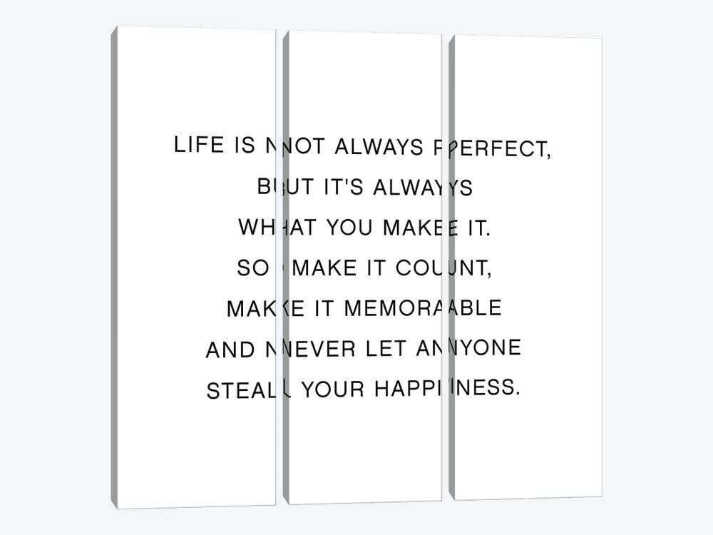 Life Is Not Always Perfect by Mambo Art Studio 3-piece Canvas Print