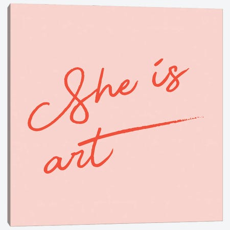 She Is Art Pink Canvas Print #MSD131} by Mambo Art Studio Canvas Wall Art