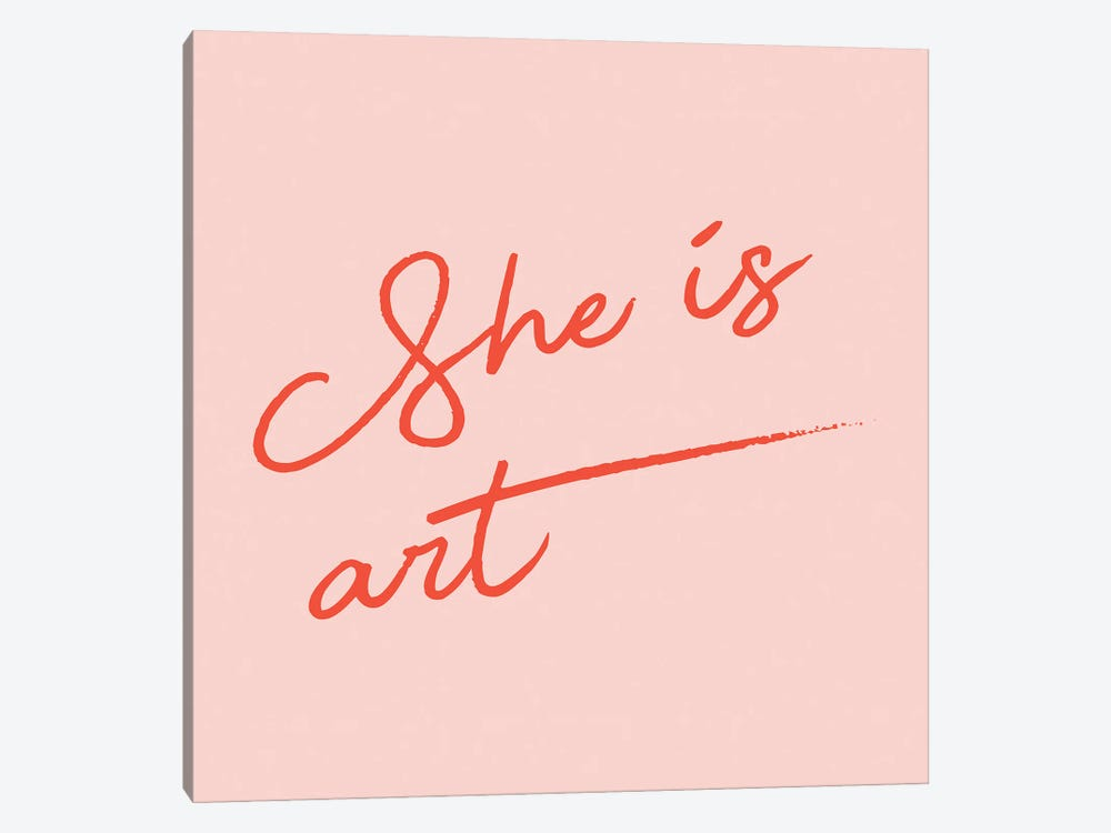 She Is Art Pink by Mambo Art Studio 1-piece Canvas Print