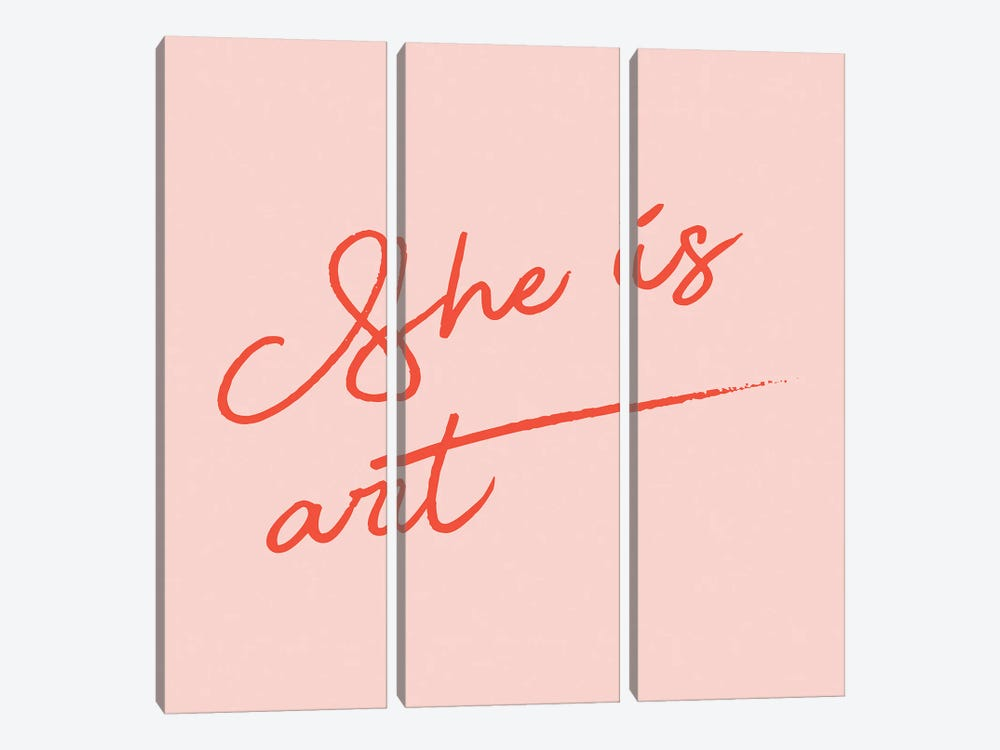 She Is Art Pink by Mambo Art Studio 3-piece Canvas Print