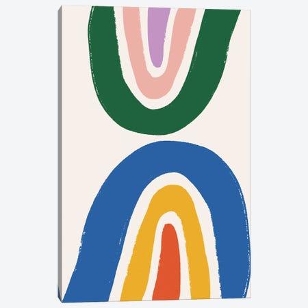 Double Rainbow Crayon Canvas Print #MSD14} by Mambo Art Studio Art Print