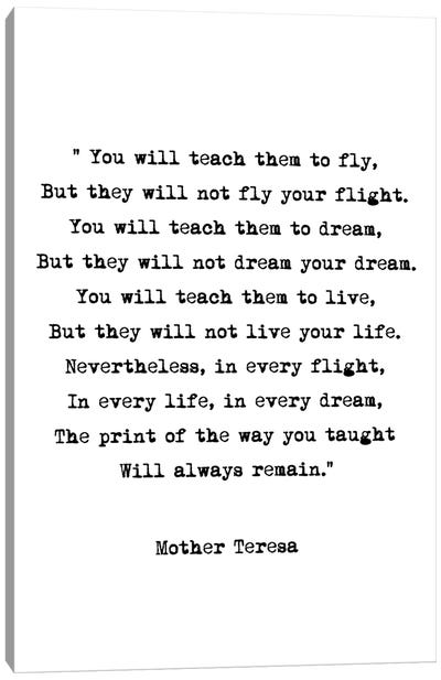Dream - Mother Theresa Quote Canvas Art Print