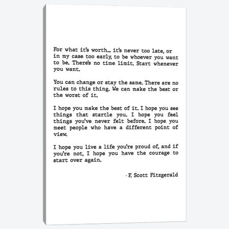 For What It's Worth Scott Fitzgerald Quote Canvas Print #MSD17} by Mambo Art Studio Canvas Art Print