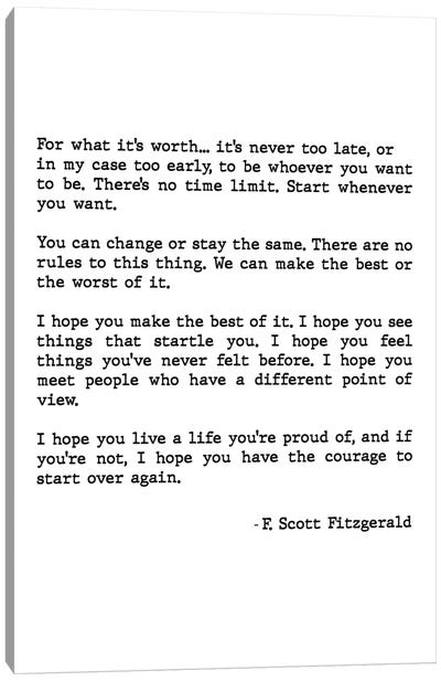 For What It's Worth Scott Fitzgerald Quote Canvas Art Print