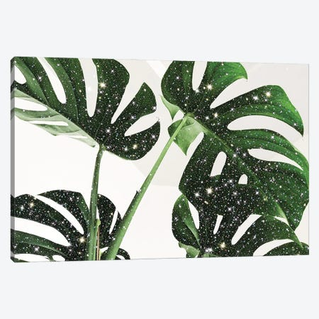 Glitter Monstera Canvas Print #MSD18} by Mambo Art Studio Canvas Artwork