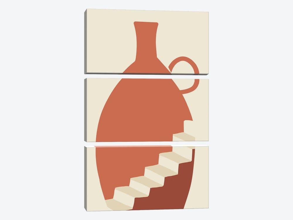 Going Up Boho Vase by Mambo Art Studio 3-piece Canvas Artwork