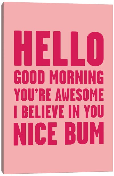 Hello You're Awesome Nice Bum Pink Canvas Art Print