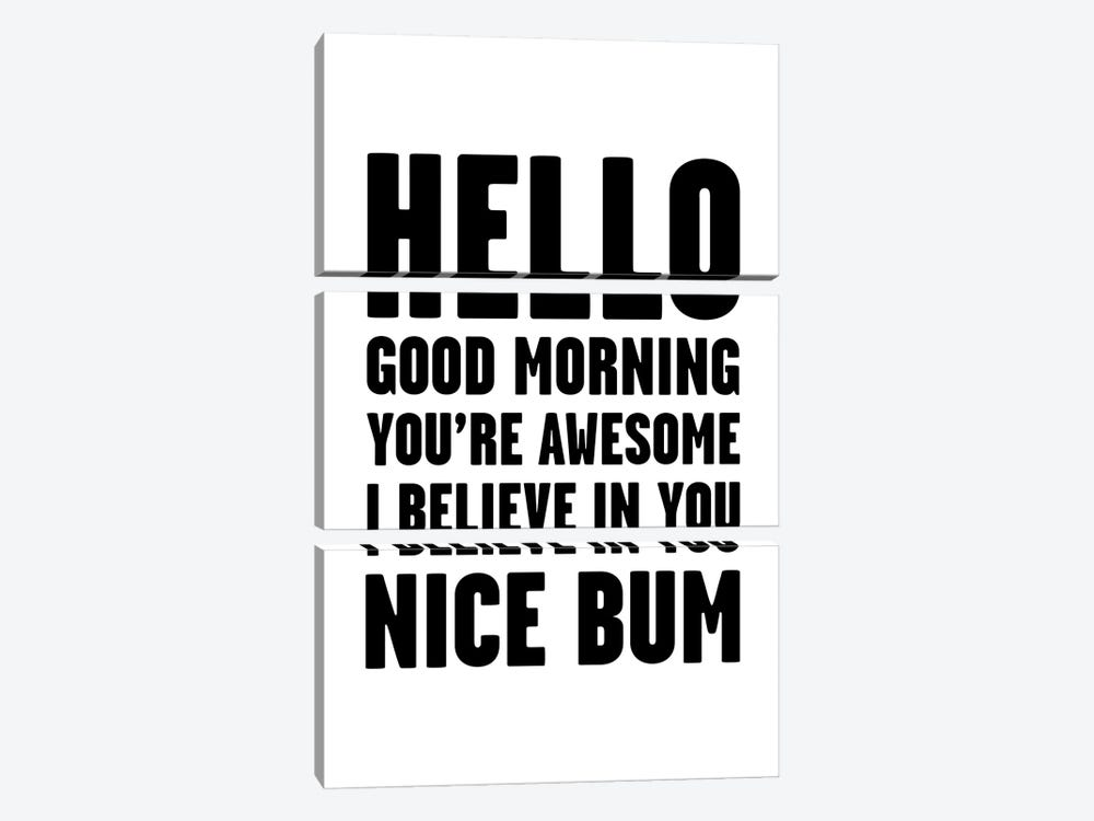 Hello You're Awesome Nice Bum by Mambo Art Studio 3-piece Canvas Wall Art