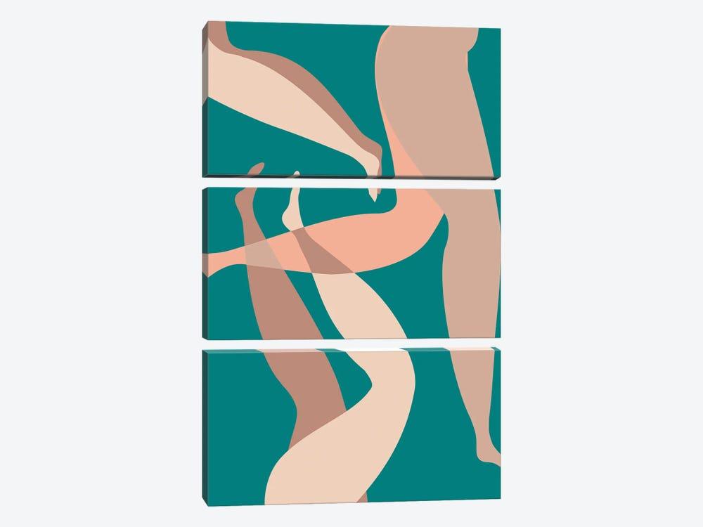Legs Green by Mambo Art Studio 3-piece Canvas Wall Art
