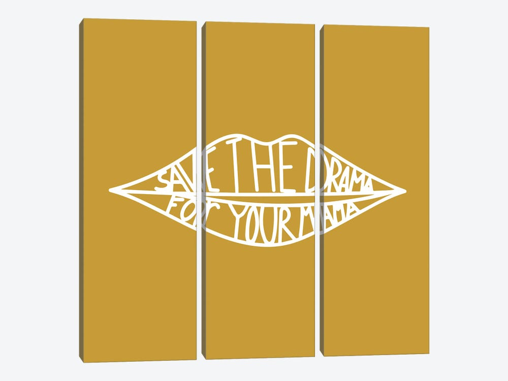 Save The Drama Mustard by Mambo Art Studio 3-piece Canvas Art Print