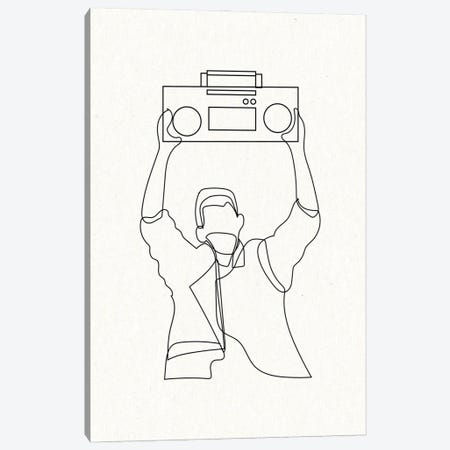 Say Anything Boombox Outline Canvas Print #MSD51} by Mambo Art Studio Canvas Art