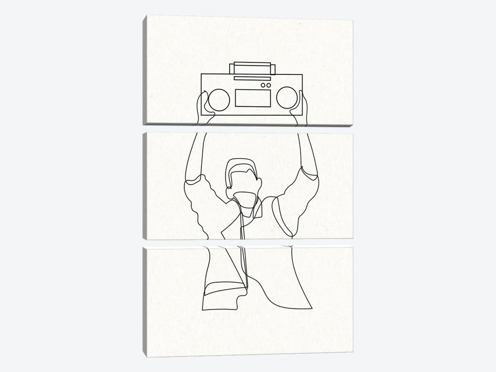 Say Anything Boombox Outline by Mambo Art Studio 3-piece Canvas Art