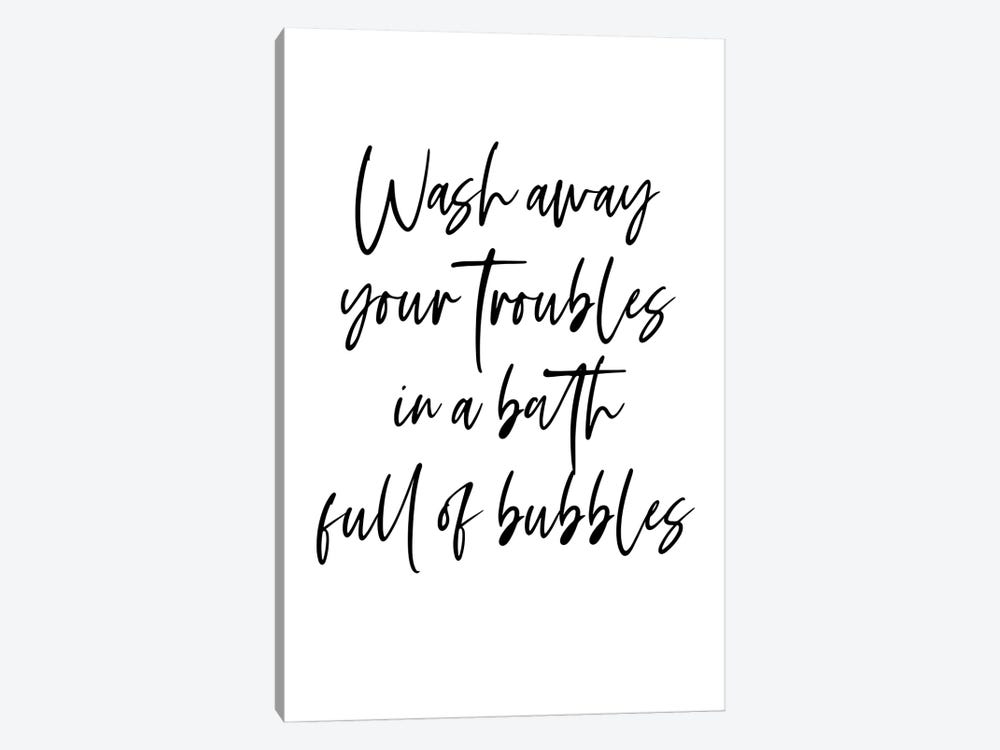 Wash away your troubles in a bath full of bubbles by Mambo Art Studio 1-piece Canvas Print