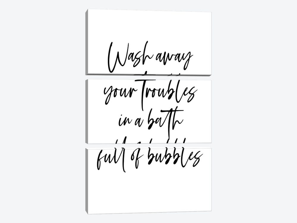 Wash away your troubles in a bath full of bubbles by Mambo Art Studio 3-piece Canvas Art Print