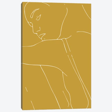 Woman Outline Mustard Canvas Print #MSD68} by Mambo Art Studio Art Print