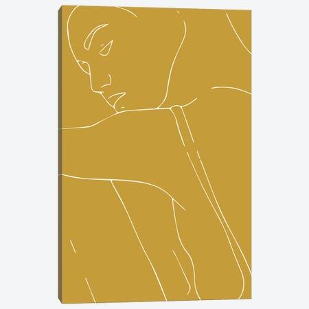 Woman Outline Mustard Canvas Print #MSD68} by Mambo Art Studio Art Print
