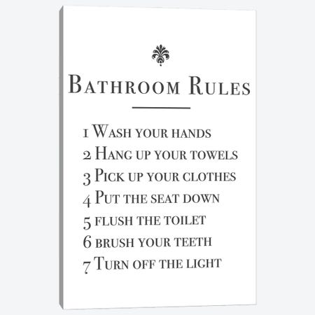 Bathroom Rules Canvas Print #MSD6} by Mambo Art Studio Canvas Wall Art