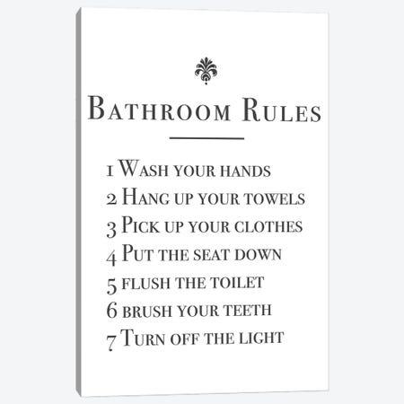 Bathroom Rules Canvas Print #MSD6} by Mambo Art Studio Canvas Wall Art