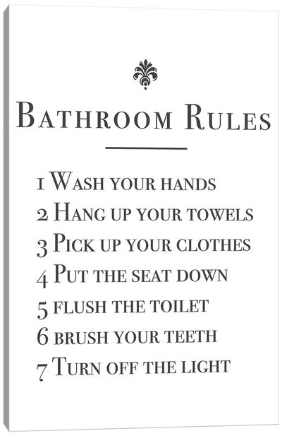 Bathroom Rules Canvas Art Print