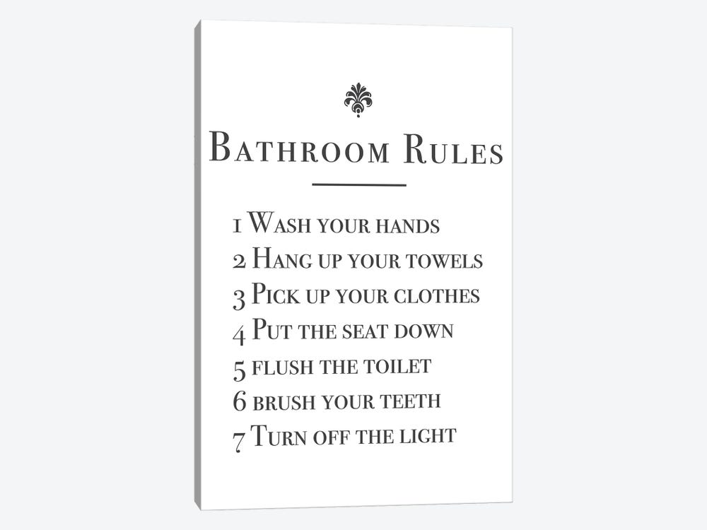 Bathroom Rules by Mambo Art Studio 1-piece Canvas Print