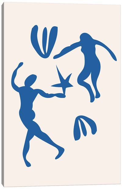 Blue People Cut Out Dancing Canvas Art Print