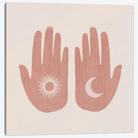 Sun, Moon, Hands Canvas Print #MSD96} by Mambo Art Studio Canvas Print