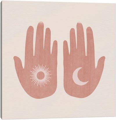 Sun, Moon, Hands Canvas Art Print