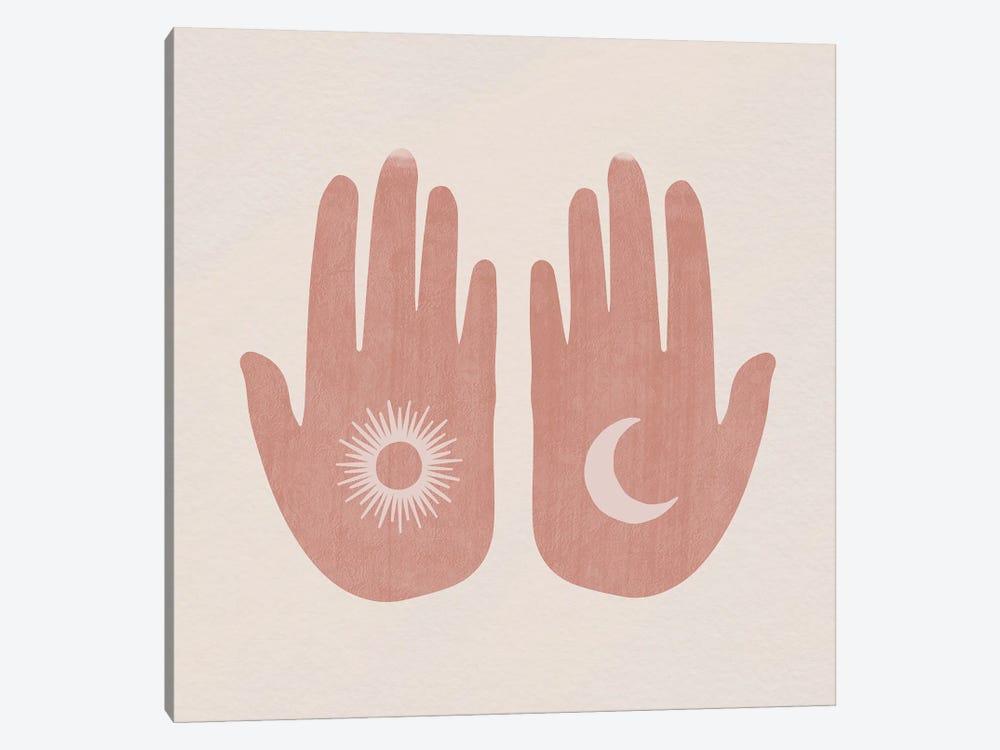 Sun, Moon, Hands by Mambo Art Studio 1-piece Canvas Print