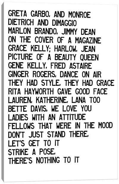 Vogue Lyrics Canvas Art Print