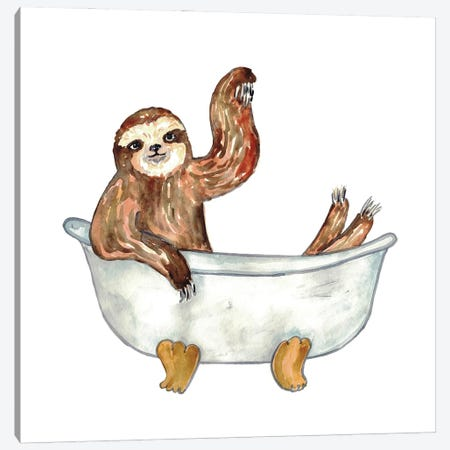 Sloth Bath Canvas Print #MSG105} by Maryna Salagub Canvas Artwork
