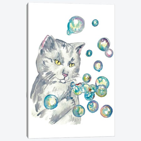 Cat Bubbles Canvas Print #MSG10} by Maryna Salagub Canvas Print