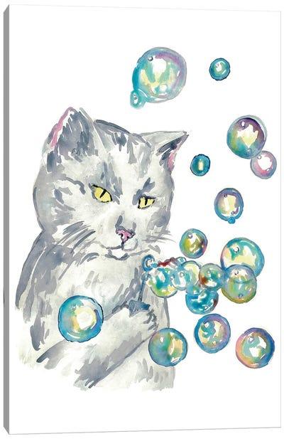 Cat Bubbles Canvas Art Print