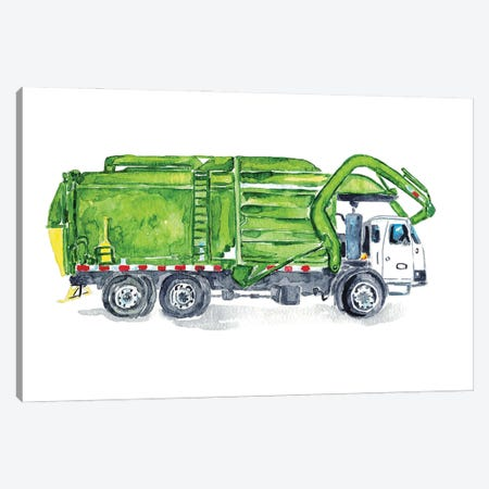 Garbage Truck Canvas Print #MSG124} by Maryna Salagub Canvas Wall Art