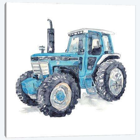 Blue Tractor Canvas Print #MSG127} by Maryna Salagub Canvas Artwork