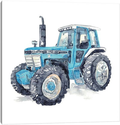 Blue Tractor Canvas Art Print