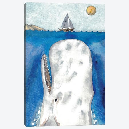 Whale And Boat Canvas Print #MSG133} by Maryna Salagub Canvas Art