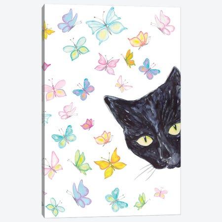 Cat Peeking Canvas Print #MSG14} by Maryna Salagub Canvas Artwork
