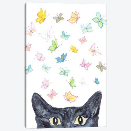 Cath Peeking Watercolor Canvas Print #MSG15} by Maryna Salagub Canvas Artwork