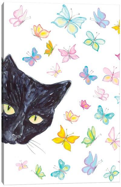 Cat Peeking Art Canvas Art Print